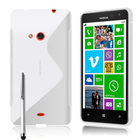 Nokia Lumia 625: Accessoire Housse Etui Pochette Coque S silicone gel + Stylet - BLANC