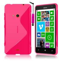 Nokia Lumia 625: Accessoire Housse Etui Pochette Coque S silicone gel + mini Stylet - ROSE