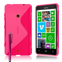Nokia Lumia 625: Accessoire Housse Etui Pochette Coque S silicone gel + Stylet - ROSE