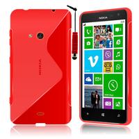 Nokia Lumia 625: Accessoire Housse Etui Pochette Coque S silicone gel + mini Stylet - ROUGE