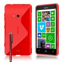 Nokia Lumia 625: Accessoire Housse Etui Pochette Coque S silicone gel + Stylet - ROUGE