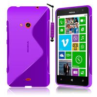 Nokia Lumia 625: Accessoire Housse Etui Pochette Coque S silicone gel + mini Stylet - VIOLET
