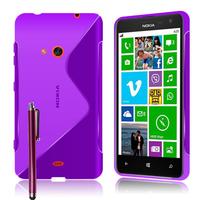 Nokia Lumia 625: Accessoire Housse Etui Pochette Coque S silicone gel + Stylet - VIOLET