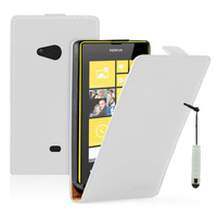 Nokia Lumia 625: Accessoire Housse coque etui cuir fine slim + mini Stylet - BLANC