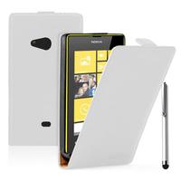 Nokia Lumia 625: Accessoire Housse coque etui cuir fine slim + Stylet - BLANC