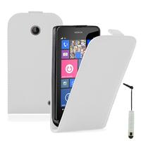 Nokia Lumia 630/ 635/ 638: Accessoire Housse coque etui cuir fine slim + mini Stylet - BLANC