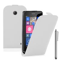 Nokia Lumia 630/ 635/ 638: Accessoire Housse coque etui cuir fine slim + Stylet - BLANC