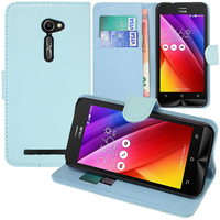 Asus Zenfone 2 ZE500CL/ Zenfone 2E: Accessoire Etui portefeuille Livre Housse Coque Pochette support vidéo cuir PU - BLEU