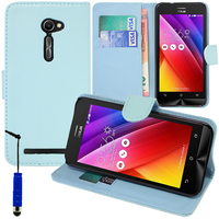 Asus Zenfone 2 ZE500CL/ Zenfone 2E: Accessoire Etui portefeuille Livre Housse Coque Pochette support vidéo cuir PU + mini Stylet - BLEU