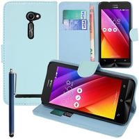Asus Zenfone 2 ZE500CL/ Zenfone 2E: Accessoire Etui portefeuille Livre Housse Coque Pochette support vidéo cuir PU + Stylet - BLEU