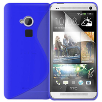 HTC One Max/ Dual Sim: Accessoire Housse Etui Pochette Coque S silicone gel - BLEU