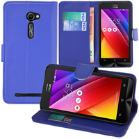 Asus Zenfone 2 ZE500CL/ Zenfone 2E: Accessoire Etui portefeuille Livre Housse Coque Pochette support vidéo cuir PU - BLEU FONCE