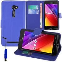 Asus Zenfone 2 ZE500CL/ Zenfone 2E: Accessoire Etui portefeuille Livre Housse Coque Pochette support vidéo cuir PU + mini Stylet - BLEU FONCE