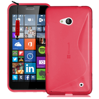 Microsoft Nokia Lumia 640 LTE/ 640 LTE Dual SIM/ 640 Dual SIM: Accessoire Housse Etui Pochette Coque S silicone gel + mini Stylet - ROUGE