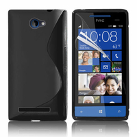 HTC Windows Phone 8S: Accessoire Housse Etui Pochette Coque S silicone gel - NOIR