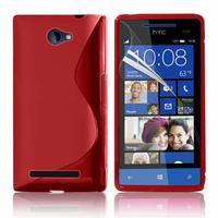 HTC Windows Phone 8S: Accessoire Housse Etui Pochette Coque S silicone gel - ROUGE