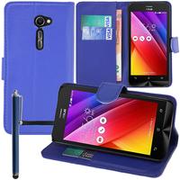 Asus Zenfone 2 ZE500CL/ Zenfone 2E: Accessoire Etui portefeuille Livre Housse Coque Pochette support vidéo cuir PU + Stylet - BLEU FONCE