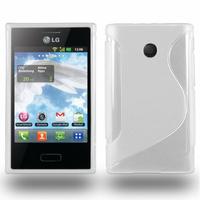 LG Optimus L3 E400: Accessoire Housse Etui Pochette Coque S silicone gel - BLANC