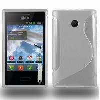LG Optimus L3 E400: Accessoire Housse Etui Pochette Coque S silicone gel + mini Stylet - TRANSPARENT