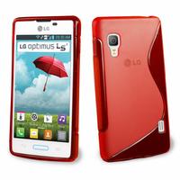 LG Optimus L5 II E460 (non compatible LG L5 II E455 Dual Sim): Accessoire Housse Etui Pochette Coque S silicone gel - ROUGE