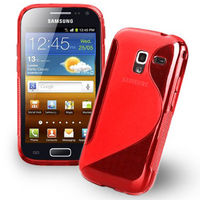 Samsung Galaxy Ace 2 i8160: Accessoire Housse Etui Pochette Coque S silicone gel - ROUGE