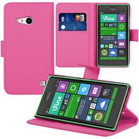 Nokia Lumia 735/ 730 Dual Sim: Accessoire Etui portefeuille Livre Housse Coque Pochette support vidéo cuir PU - ROSE