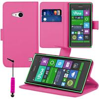 Nokia Lumia 735/ 730 Dual Sim: Accessoire Etui portefeuille Livre Housse Coque Pochette support vidéo cuir PU + mini Stylet - ROSE