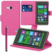 Nokia Lumia 735/ 730 Dual Sim: Accessoire Etui portefeuille Livre Housse Coque Pochette support vidéo cuir PU + Stylet - ROSE