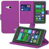 Nokia Lumia 735/ 730 Dual Sim: Accessoire Etui portefeuille Livre Housse Coque Pochette support vidéo cuir PU - VIOLET