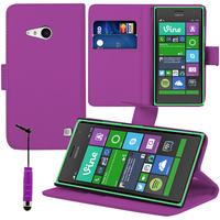 Nokia Lumia 735/ 730 Dual Sim: Accessoire Etui portefeuille Livre Housse Coque Pochette support vidéo cuir PU + mini Stylet - VIOLET