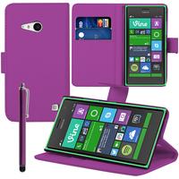 Nokia Lumia 735/ 730 Dual Sim: Accessoire Etui portefeuille Livre Housse Coque Pochette support vidéo cuir PU + Stylet - VIOLET