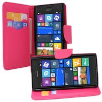 Nokia Lumia 735/ 730 Dual Sim: Accessoire Etui portefeuille Livre Housse Coque Pochette support vidéo cuir PU effet tissu - ROSE