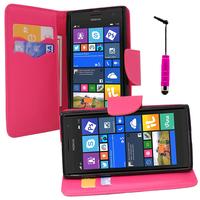 Nokia Lumia 735/ 730 Dual Sim: Accessoire Etui portefeuille Livre Housse Coque Pochette support vidéo cuir PU effet tissu + mini Stylet - ROSE