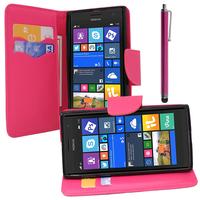 Nokia Lumia 735/ 730 Dual Sim: Accessoire Etui portefeuille Livre Housse Coque Pochette support vidéo cuir PU effet tissu + Stylet - ROSE