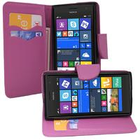 Nokia Lumia 735/ 730 Dual Sim: Accessoire Etui portefeuille Livre Housse Coque Pochette support vidéo cuir PU effet tissu - VIOLET