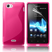 Sony Xperia J St26i: Accessoire Housse Etui Pochette Coque S silicone gel - ROSE