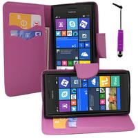 Nokia Lumia 735/ 730 Dual Sim: Accessoire Etui portefeuille Livre Housse Coque Pochette support vidéo cuir PU effet tissu + mini Stylet - VIOLET