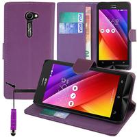Asus Zenfone 2 ZE500CL/ Zenfone 2E: Accessoire Etui portefeuille Livre Housse Coque Pochette support vidéo cuir PU + mini Stylet - VIOLET