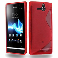 Sony Xperia U St25i: Accessoire Housse Etui Pochette Coque S silicone gel - ROUGE