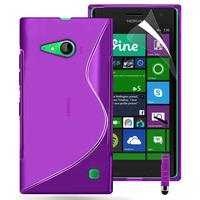 Nokia Lumia 735/ 730 Dual Sim: Accessoire Housse Etui Pochette Coque S silicone gel + mini Stylet - VIOLET