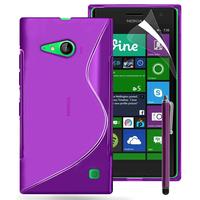 Nokia Lumia 735/ 730 Dual Sim: Accessoire Housse Etui Pochette Coque S silicone gel + Stylet - VIOLET