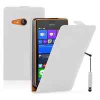 Nokia Lumia 735/ 730 Dual Sim: Accessoire Housse coque etui cuir fine slim + mini Stylet - BLANC