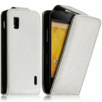 Google Nexus 4 E960/ Mako: Accessoire Etui Housse Coque Pochette simili cuir - BLANC