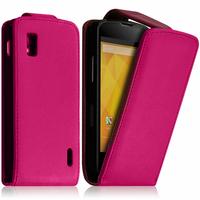 Google Nexus 4 E960/ Mako: Accessoire Etui Housse Coque Pochette simili cuir - ROSE