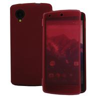 Google Nexus 5: Accessoire Coque Etui Housse Pochette silicone gel Portefeuille Livre rabat - ROUGE