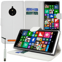 Nokia Lumia 830 RM-984: Accessoire Etui portefeuille Livre Housse Coque Pochette support vidéo cuir PU + mini Stylet - BLANC
