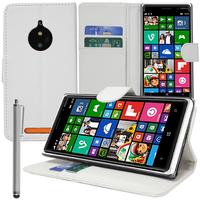 Nokia Lumia 830 RM-984: Accessoire Etui portefeuille Livre Housse Coque Pochette support vidéo cuir PU + Stylet - BLANC