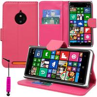 Nokia Lumia 830 RM-984: Accessoire Etui portefeuille Livre Housse Coque Pochette support vidéo cuir PU + mini Stylet - ROSE