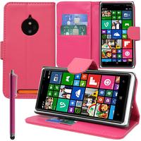 Nokia Lumia 830 RM-984: Accessoire Etui portefeuille Livre Housse Coque Pochette support vidéo cuir PU + Stylet - ROSE