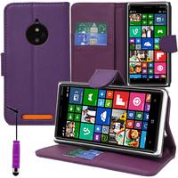 Nokia Lumia 830 RM-984: Accessoire Etui portefeuille Livre Housse Coque Pochette support vidéo cuir PU + mini Stylet - VIOLET